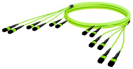 Претерминированный кабель 72 волокна LazrSPEED® WideBand OM5 6xMPO12(f)/6xMPO12(m), изоляция: LSZH, EuroClass B2ca, t=-10-+60 град., цвет: lime