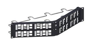 Угловая коммутационная панель до 48xRJ45 гнёзд M-типа, с кабельной поддержкой, высота: 2RU, цвет: чёрный
