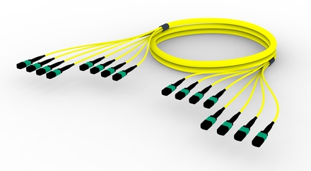 Претерминированный кабель 96 волокон MPOptimate® ULL OS2 G.657.A2 8хMPO12(f)/8хMPO12(f), APC, LSZH, B2ca, Полярность: метод A,  t=-10-+60 град., цвет: жёлтый