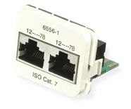 Двойная адаптерная вставка AMP CO™ Plus Cat.7 для двухпарных приложений, Тип вставки: 2xRJ45 Cat.7, Цвет: белый (RAL 9010)