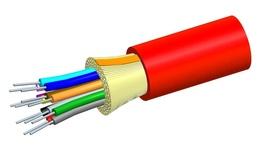 Внутренний оптический кабель, кол-во волокон: 4, Тип волокна: OM3 LazrSPEED® 300 буфер 900мк, Конструкция: ODC, Изоляция: LSZH, EuroClass: Dca, Диаметр: 4,65 мм, -20 - +70 град., цвет: красный