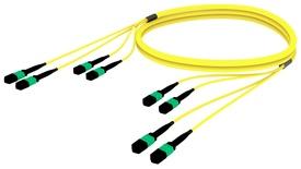 Претерминированный кабель MPOptimate® ULL 48 волокон OS2 G.657.A2 4хMPO12(m)/4хMPO12(m), APC, UltraLowLoss, изоляция: LSZH, Полярность: метод А, t=-10-+60 град., цвет: жёлтый, Длина м.: 3