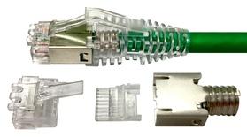 MP-5EMT-A-5: Экранированная модульная вилка RJ45 8-поз./8-конт. Cat.5e, для круглого кабеля D:4,7 – 5,5, d:0,89-1,09, AWG:26-23, тип проводника: solid/stranded; уп.: 500шт.