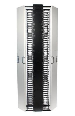 Комплект вертикального кабельного органайзера двустороннего с дверцами; высота мм: 2438; ширина мм: 203; цвет: серебряный