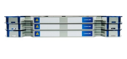 Шасси FACT™ Splice-Patch 72xSC/APC SM и C-grade пигтейлы, поддон для гильз ANT, организация кабеля: left-hand patch, цвет: серый, высота: 3E=2.1RU