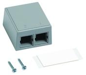Настенная розеточная коробка M102 под гнездо М-серии, кол-во портов: 2, цвет: серый
