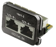 Адаптерная вставка AMP CO™ Plus 2xRJ45 (2хFastEthernet) Cat.6a, цвет: чёрный (RAL 9005)