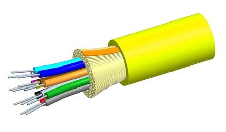 Внутренний оптический кабель, кол-во волокон: 2, Тип волокна: G.652.D and G.657.A1 TeraSPEED® буфер 900мк, Конструкция: ODC, изоляция: OFNP, диаметр: 3,76 мм, -20 - +70 град., цвет: жёлтый