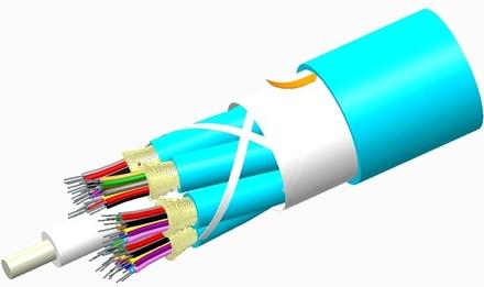 Внутренний оптический кабель, кол-во волокон: 144, Тип волокна: OM4 LazrSPEED® 550 буфер 900мк, Конструкция: ODC 12x12 Tube с диэлектрическим силовым элементом, изоляция: Riser, Диаметр: 25,75 мм, -20 - +70 град., цвет: бирюзовый