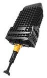 Многоразовая малогабаритная тупиковая оптическая муфта TENIO-B6-NT-0-N, совместима с CWDM модулями и поддонами для сплиттеров, монтаж без инструмента на защёлках, герметизация без термоусадки, до 144 волокон, поддон: 0 из 12, диаметр кабеля до 16 мм, корпус: ударопрочный полимер 389х230х134 мм, кабельные вводы: до 30, Монтаж: с боковыми защёлками