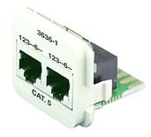 Двойная адаптерная вставка AMP CO™ Plus Cat.5E, Тип вставки: 2xRJ45 (2хISDN), Цвет: белый (RAL 9010)