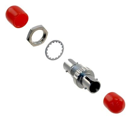 Адаптер ST-ST Simplex, Корпус: металл, Втулка: полимер, Крепеж: накидная гайка, Тип: MM