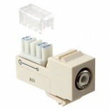 Мультимедийное гнездо RCA красный SL-типа, контактный блок: 110, цвет: light almond