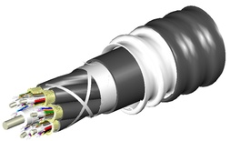 Универсальный распределительный оптический кабель, волокон: 48, Тип волокна: OM4, LazrSPEED® 550, конструкция: 4x12 кабеля с центральным силовым элементом и кевларом вокруг центрального силового элемента, изоляция промежуточная - LSZH, бронирование алюминиевой лентой, изоляция внешняя - LSZH UV stabilized Riser, EuroClass: B2ca, модуля - LSZH, диаметр: 28,1 мм, -40 - +70 град., цвет: чёрный