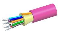 Внутренний оптический кабель, кол-во волокон: 24, Тип волокна: G.652.D and G.657.A1 TeraSPEED® буфер 900мк, конструкция: ODC, изоляция: LSZH Riser, EuroClass: Dca, диаметр: 8,6 мм, -20 - +70 град., цвет: розовый