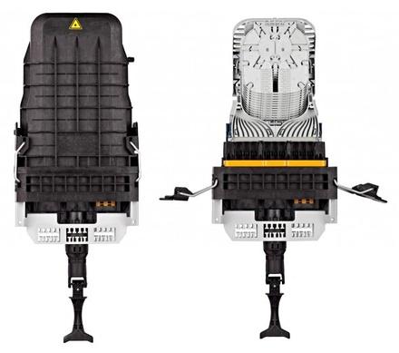 Многоразовая малогабаритная тупиковая оптическая муфта TENIO-B6-NT-0-V, совместима с CWDM модулями и поддонами для сплиттеров, монтаж без инструмента на защёлках, герметизация без термоусадки, до 144 волокон, поддон: 0 из 12, диаметр кабеля до 16 мм, корпус: ударопрочный полимер 389х230х134 мм, кабельные вводы: до 30, Монтаж: с боковыми защёлками, С тестовым клапаном