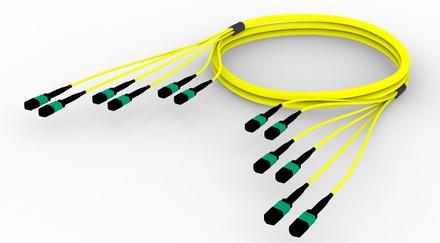 Претерминированный кабель MPOptimate® ULL 72 волокна OS2 G.657.A2 6хMPO12(m)/6хMPO12(m), APC, UltraLowLoss, изоляция: LSZH B2ca, Полярность: метод А, t=-10-+60 град., цвет: жёлтый, Длина м.: 50