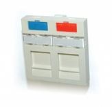 Лицевая панель 45x45, для 2-гнёзд SL или AMPTwist, со шторкой, цвет: белый