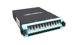 Модуль G2 MPOptimate® OM4 LazrSPEED® 550 12xLC Duplex - 1xMPO24(m) Method A Pair Flipped, шторки: есть, цвет: бирюзовый