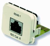 Адаптерная вставка AMP CO™ Plus 1xRJ45, Cat.6 STP EIA/TIA 568А, цвет: миндальный (RAL 9013)
