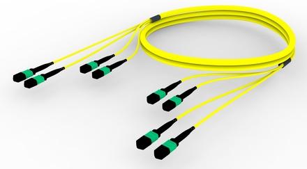 Претерминированный кабель 48 волокон G.652.D and G.657.A1 , OS2 TeraSPEED® 4xMPO12(f)/4xMPO12(f), изоляция: LSZH, EuroClass B2ca, t=-10-+60 град., цвет: жёлтый