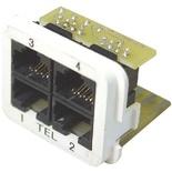 Адаптерная вставка AMP CO™ Plus 4xRJ45, приложение: телефонная, цвет: чёрный (RAL 90005)