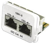 Адаптерная вставка AMP CO™ Plus 2xRJ45 (2хFastEthernet) Cat.6a, цвет: белый (RAL 9010)