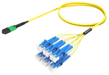 Разветвительный кабель (гидра) MPOptimate® OS2 G.657.A2 MPO12(m) APC/6xLC Duplex, UltraLowLoss, изоляция: Plenum, Полярность: метод А, t=-10-+60 град., цвет: жёлтый