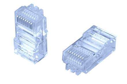 MP-88U-FS-1: Модульная вилка RJ45 8-поз./8-конт. Cat.5; для плоского овального кабеля D=2,54-8,89, d=0,74-0,86, AWG:28-26; уп.: 100шт.