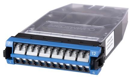 Кассета G2 OS2 12хLC Duplex с держателем сплайсов, с ленточными (ribbon) пигтейлами, шторки: да, цвет: синий