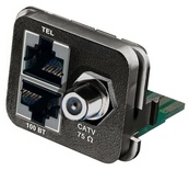 Адаптерная вставка AMP CO™ Plus F-коннектор + 2xRJ45, 1хCATV/1хFastEthernet/1хISDN, Цвет: чёрный (RAL 9005)