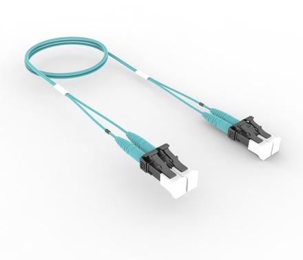 Коммутационный шнур LC-UPC/LC-UPC дуплексный, волокно: OM4 LazrSPEED® 550, оболочка: Plenum, диаметр: 1.6, цвет: бирюзовый, цвет разъёма: бежевый, длина м: 10