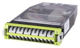 Кассета G2 OM5, LazrSPEED® wideband 12хLC Duplex с держателем сплайсов, с пигтейлами, цвет: lime