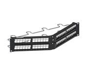 Угловая коммутационная панель до 48хRJ45 экранированных SL гнёзд с кабельной поддержкой, высота: 2RU