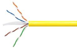 Кабель 4-парный U/UTP Cat.6, 24 AWG, оболочка: LSZH, EuroClass Dca, диаметр: 5,72, NVP 71%, -20-+60 грд, цвет: жёлтый, уп.: коробка 305 м