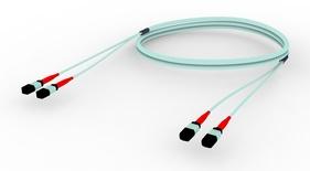 Претерминированный кабель MPOptimate® ULL 48 волокон OM4 2хMPO24(m)/2хMPO24(m), UltraLowLoss, изоляция: LSZH, Полярность: метод А, t=-10-+60 град., цвет: бирюзовый, Длина м.: 3