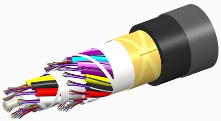 Универсальный оптический кабель, волокон: 4, Тип волокна: ОМ3 LazrSPEED® 300, конструкция: волокна в 250mk буфере, в модулях вокруг диэлекетрического силового элемента, изоляция: PVC UV stabilized Riser, диаметр: 11,5 мм, -40 - +70 град., цвет: чёрный