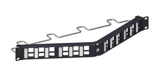 Угловая коммутационная панель до 24xRJ45 гнёзд M-типа, с кабельной поддержкой, высота: 1RU, цвет: чёрный