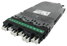 Кассета CHD OS2 6xLC APC Duplex в комплекте с ленточными пигтейлами, Method A, цвет: зелёный
