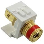 Мультимедийное гнездо Speaker post SL-типа с красной полоской, контактный блок: проходной, цвет: белый