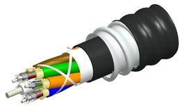 Универсальный распределительный оптический кабель, волокон: 6, Тип волокна: OM4, LazrSPEED® 550, конструкция: кабель до 12 волокон с центральным силовым элементом и кевларом, изоляция промежуточная - LSZH, бронирование алюминиевой лентой, изоляция внешняя - LSZH UV stabilized Riser, EuroClass: B2ca, диаметр: 12,8 мм, -40 - +70 град., цвет: чёрный