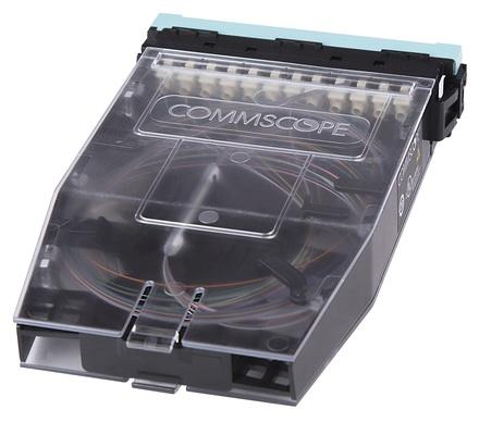 Кассета G2 OM4 12хLC Duplex с держателем сплайсов, с ленточными (ribbon) пигтейлами, шторки: да, цвет: бирюзовый