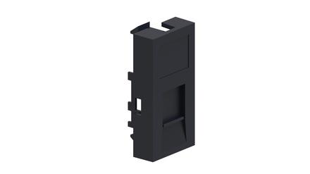 Лицевая панель LF82-003 22,61х45,21 для 1 гнёзда M-серии, со шторкой, цвет: чёрный