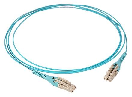 Коммутационный шнур LC-UPC/LC-UPC-дуплексный Uniboot с ультранизкими потерями ULL, волокно: OM4 LazrSPEED® 550, оболочка: LSZH/Riser, диаметр: 2, цвет: бирюзовый, цвет разъёма: бежевый, длина м: 1
