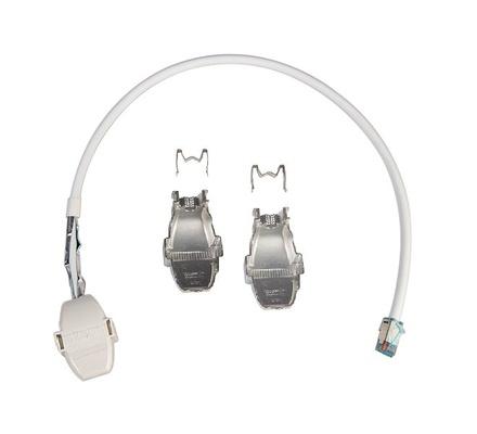 Экранированный коммутационный шнур RJ45/CCA Cat.6A, F/UTP, оболочка: LSZH, проводник: solid, цвет: белый, уп-ка шт.: 2, длина м: 0,9