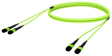 Претерминированный кабель LazrSPEED® WideBand OM5 2xMPO12(f)/2xMPO12(m), изоляция: LSZH, EuroClass B2ca, t=-10-+60 град., цвет: lime, Длина м.: 20