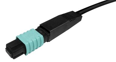 Разъём LazrSPEED® WideBand QWIK-FUSE MPO8 со штырьками для полевой установки на ленточное волокно, fusion splice, OM3, OM4, OM5, цвет: бирюзовый
