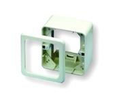Настенная розеточная коробка DIN, 80х80мм, без рамки, Цвет: миндальный (RAL 9013)