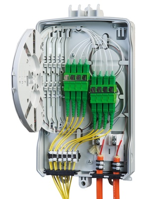 Настенный оптический монтажный бокс серии BUDI, 8SC/APC адаптера и пигтейла, без замка, single element FIST™-поддон для SMOUV гильз