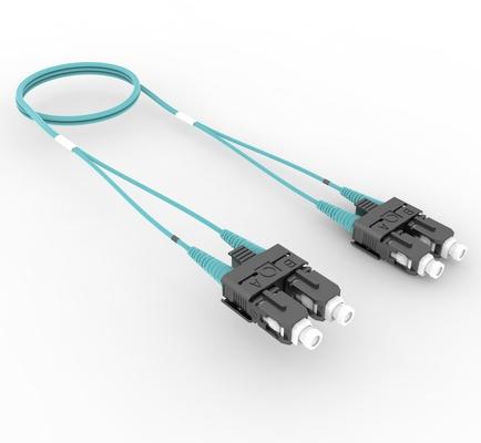 Коммутационный шнур SC-UPC/SC-UPC дуплексный, волокно: OM4 LazrSPEED® 550, оболочка: Plenum, диаметр: 1.6, цвет: бирюзовый, цвет разъёма: бежевый, длина м: 5